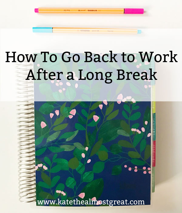 Due to health issues and grad school, I didn't work in a traditional job for over a year. In this post, I break down my tips for how to go back to work after a long break so that your return is a smooth as possible.