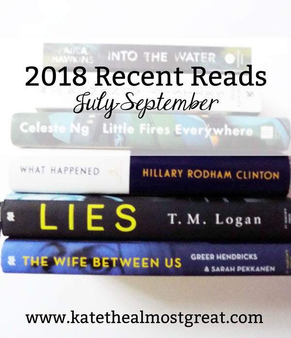 Sharing the books I read in July through September, what they're about, and what I thought about them.