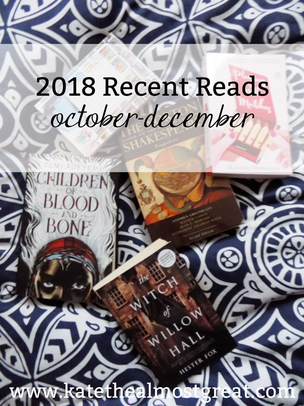 In this series, Boston blogger Kate the (Almost) Great shares the books she read in October, November, and December and reviews them.