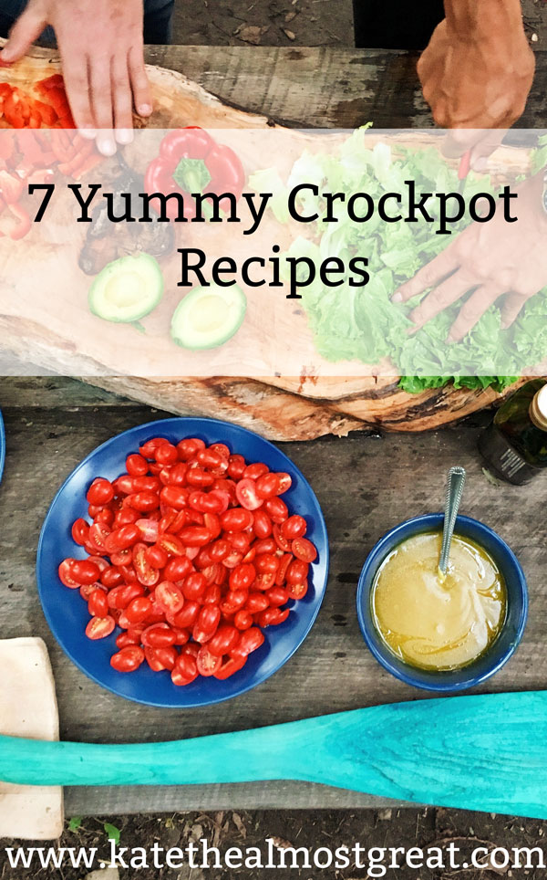 7 yummy crockpot recipes to help you make delicious food! These recipes are also either gluten-free or easily made gluten-free.