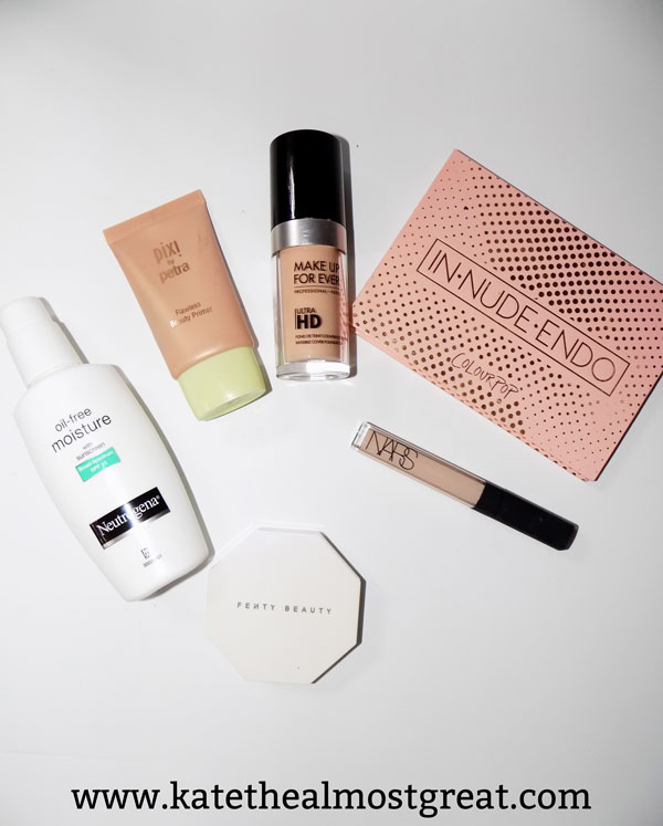 currently daily makeup routine, neutrogena, pixi, pixi by petra, make up for ever, make up for ever ultra hd invisible cover foundation, pixi primer, pixi by petra primer, colourpop, ColourPop highlighter, colourpop highlighter palette, colourpop in-nude-endo palette, colourpop in-nude-endo palette review, nars concealer, nars radiant creamy concealer, fenty, fenty by rihanna, fenty killawatt highlighter duo review, fenty killowatt highlighter due