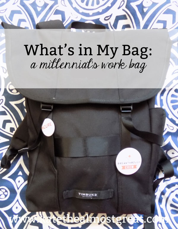 Boston lifestyle blogger Kate the (Almost) Great shares what she keeps in her work bag in this edition of What's in My Bag.