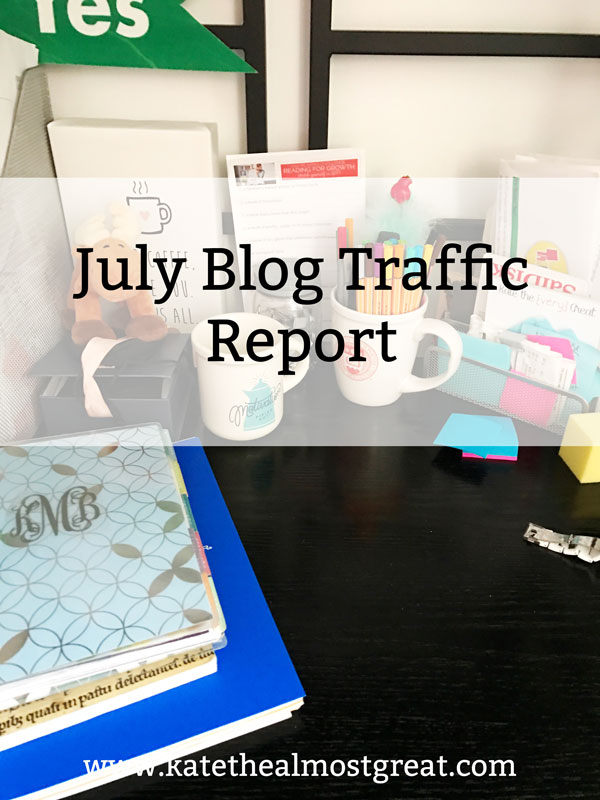 Boston lifestyle blogger Kate the (Almost) Great shares what she did to grow her blog traffic in July 2019 and whether or not it helped.