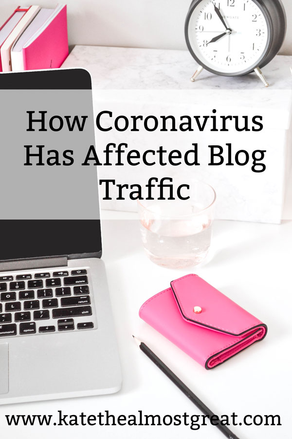 In this blog traffic report, Boston lifestyle blogger Kate the (Almost) Great shares her blog stats for March 2020, aka when COVID-19 really hit the US. She shares how coronavirus affected blog stats for her and others, as well as what she has done to combat that.