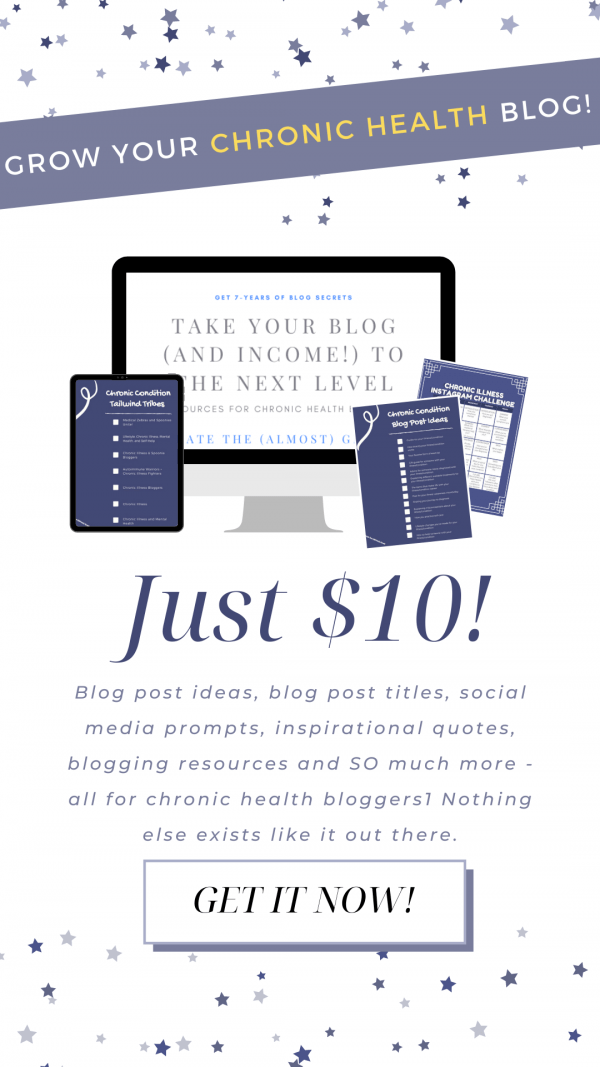 Take your blog (and your income!) to the next level with this bundle of resources designed for health bloggers - specifically, those who blog about chronic conditions.