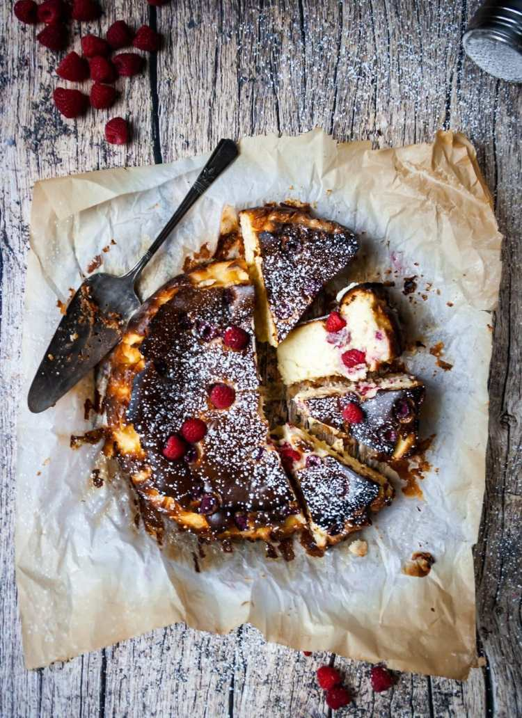 My burnt Basque cheesecake with raspberries