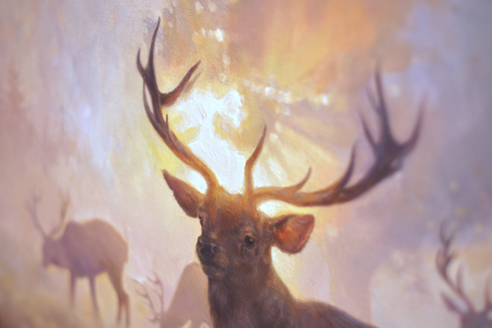 art, painting, oil on canvas, oil painting, Pink, Posture, Purple, Sun, Sunny, Oil Painting, Deer, Fog, Foggy, Landscape, Meadow, Oil, buy art, art for sale