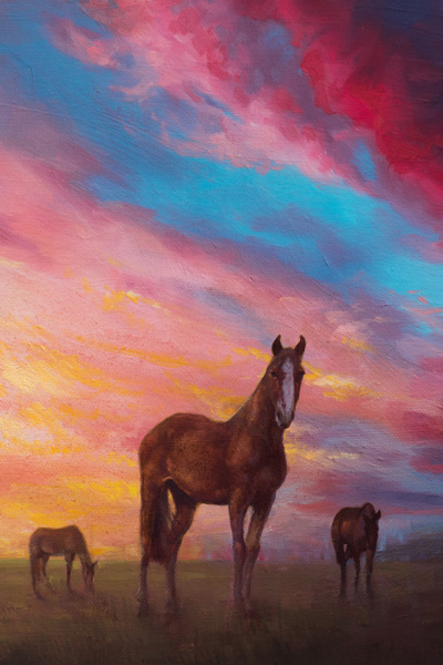 horses grazing, Realistic, Sky, Blue, Sunset, clouds, sun, Oil Painting, Field, Oil On Canvas, Equine, Horses, Grazing, Landscape, Magenta ,Oil original, oil, realistic, pet portrait, painting for sale, sold, fine art, buy a painting, wall art, gift, christmas, artist, painting art, portrait artist, portrait, contemporary painting, painting gallery, custom art, custom paintings, usa, america, american art, red, Kate Tova artist, canvas, christmas gift, anniversary, new year, birthday present, unique, exclusive, expensive, luxurious, living room, guestroom, Kate Tova, wedding gift, Valentines day gift, hand painted, art for dining room, guest room, living room, bedroom, canvas print, print, painting on canvas, gift for horse lover