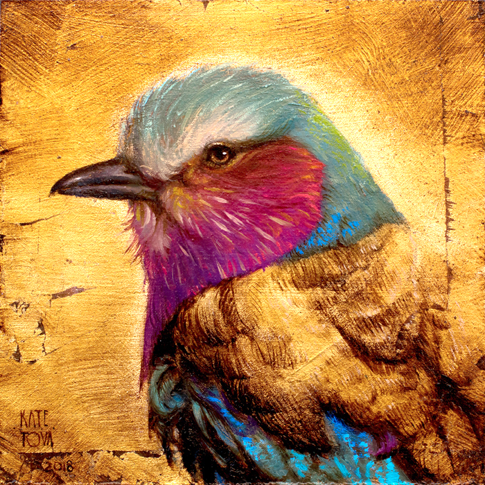 Art, Painting, Bird, Lilac Breasted Roller, Oil On Canvas, Oil On Wood, Painting, Beautiful, Gold, Gold Leaf, Buy Art, Art For Sale, Realitic, Small Painting, Luxurious, Exclusive, American
