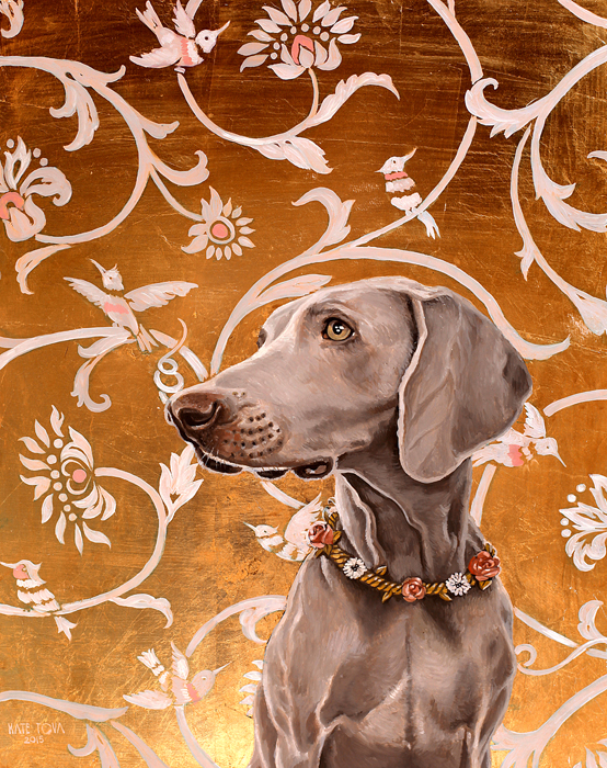 oil painting, Pattern, Beautiful, Gold Leaf, Cute, Dog, Exclusive, Gold, Gray, Hummingbirds, Weimaraner, Dog Lover, Luxurious, Oil, dog art, dog portrait, oil portrait, oil on canvas, art, artwork, painting, original, realistic, painting for sale, sold, fine art, buy a painting, wall art, gift, christmas, artist, canine art, dog artist, contemporary painting, painting gallery, painting, custom art, custom paintings, animals, animal, usa, america, american art, blue eyes, turquoise, Kate Tova artist, christmas, gift, anniversary, new year, birthday present, unique, exclusive, expensive, luxurious, living room, guestroom, Kate Tova, wedding gift, Valentines day gift, hand painted, art for dining room, guest room, living room, bedroom, print