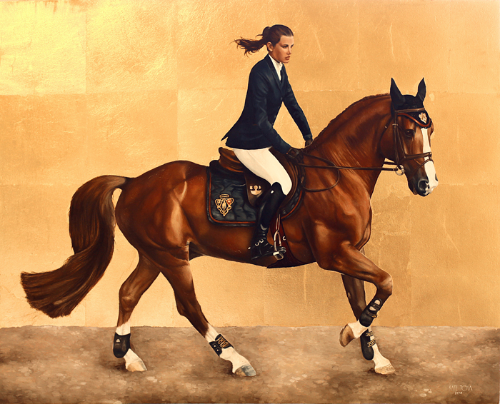 art, artwork, painting, horse and rider, Chestnut, Galloping, Dressage, Gallop, Gold, Golden, Horse, Luxury, Beautiful, Portrait, Realism, Realistic, Woman, Gold Leaf, Girl, Gold, Golden, Luxury, Model, woman portrait, woman laying, top view, eye, original, oil, realistic, impressionistic, painting for sale, sold, fine art, buy a painting, wall art, gift, christmas, artist, painting art, portrait artist, portrait, contemporary painting, painting gallery, custom art, custom paintings, usa, america, american art, red, Kate Tova artist, canvas, christmas gift, anniversary, new year, birthday present, unique, exclusive, expensive, luxurious, living room, guestroom, Kate Tova, wedding gift, Valentines day gift, hand painted, art for dining room, guest room, living room, bedroom, canvas print, print, painting on canvas