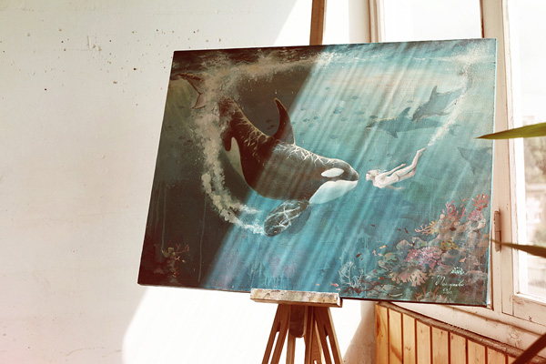 orca, killer whale, woman, killer whale and a girl, girl, ocean, reef, coral, dolphins, oil painting, blue, oil, painting for sale, sold, fine art, buy a painting, wall art, gift, christmas, landscape, art, painting, artwork, artist, painting art, portrait artist, portrait, contemporary painting, painting gallery, whale, whale painting, custom art, custom paintings, nature, water, usa, america, american art, animals, animal, blue, Kate Tova artist, canvas, christmas, anniversary, new year, birthday present, unique, exclusive, expansive, luxurious, living room, guestroom, Kate Tova, wedding gift, Valentines day gift, hand painted, original, realistic, dining room, guest room, living room, bedroom, orca print, canvas print, print, painting on canvas
