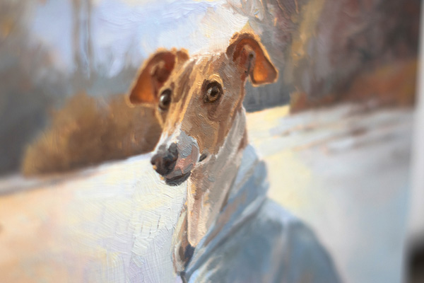 Pet, Portrait, Whippet, Winter, Wood, Oil Painting, Van Gogh, Pet Portrait, Cute, Dog, Lake, Oil, Oil original, oil, realistic, impressionistic, painting for sale, sold, fine art, buy a painting, wall art, gift, christmas, artist, painting art, portrait artist, portrait, contemporary painting, painting gallery, custom art, custom paintings, usa, america, american art, red, Kate Tova artist, canvas, christmas gift, anniversary, new year, birthday present, unique, exclusive, expensive, luxurious, living room, guestroom, Kate Tova, wedding gift, Valentines day gift, hand painted, art for dining room, guest room, living room, bedroom, canvas print, print, painting on canvas, gift for dog lover