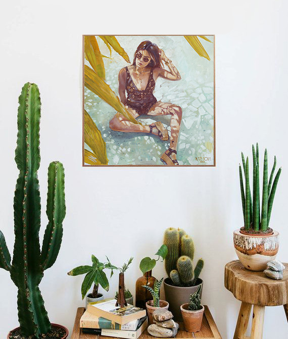 Aida Domènech painting, model, palm trees, sunlight, art, artwork, painting, original, oil, realistic, painting for sale, sold, fine art, buy a painting, wall art, gift, christmas, artist, painting art, portrait artist, portrait, contemporary painting, painting gallery, custom art, custom paintings, nature, usa, america, american art,, blue, Kate Tova artist, canvas, christmas, gift, anniversary, new year, birthday present, unique, exclusive, expensive, luxurious, living room, guestroom, Kate Tova, wedding gift, Valentines day gift, hand painted, art for dining room, guest room, living room, bedroom, canvas print, print, painting on canvas