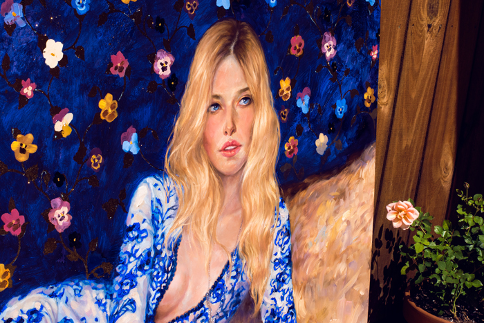 art, artwork, painting, pancy, pattern, pansies, woman portrait, woman laying, top view, eye, original, oil, gold, gold leaf, realistic, impressionistic, painting for sale, sold, fine art, buy a painting, wall art, gift, christmas, artist, painting art, portrait artist, portrait, contemporary painting, painting gallery, custom art, custom paintings, usa, america, american art, red, Kate Tova artist, canvas, christmas gift, anniversary, new year, birthday present, unique, exclusive, expensive, luxurious, living room, guestroom, Kate Tova, wedding gift, Valentines day gift, hand painted, art for dining room, guest room, living room, bedroom, canvas print, print, painting on canvas, art for sale, usa