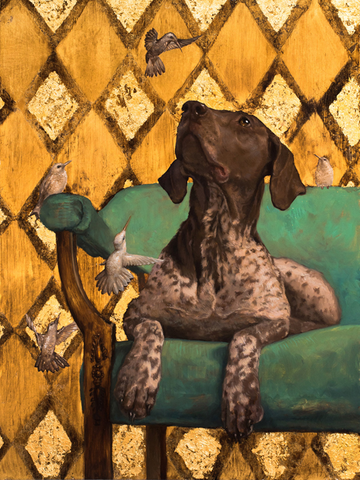 oil painting, Pattern, Beautiful, Gold Leaf, Cute, Dog, Exclusive, Gold, Gray, Hummingbirds, pointer dog, english pointer, Dog Lover, Luxurious, Oil, dog art, dog portrait, oil portrait, oil on canvas, art, artwork, painting, original, realistic, painting for sale, sold, fine art, buy a painting, wall art, gift, christmas, artist, canine art, dog artist, contemporary painting, painting gallery, painting, custom art, custom paintings, animals, animal, usa, america, american art, blue eyes, turquoise, Kate Tova artist, christmas, gift, anniversary, new year, birthday present, unique, exclusive, expensive, luxurious, living room, guestroom, Kate Tova, wedding gift, Valentines day gift, hand painted, art for dining room, guest room, living room, bedroom, print