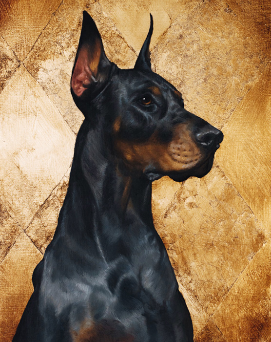 Custom pet dog portrait of a doberman Oil on Gold Silver background luxurious beautiful pet memorial gift present idea christmas birthday anniversary