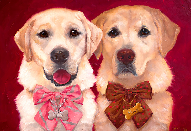 Custom Pet Portraits Yellow Lab Labrador On Custom Color Red Background Premium Pet Portrait Luxurious Present Gift Christmas New Year Birthday Anniversary 2018 Usa By Kate Tova