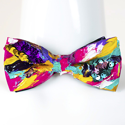 Custom Bow Tie hand painted colorful vivid personalized painted designer fashion abstract exclusive present gift by Kate Tova