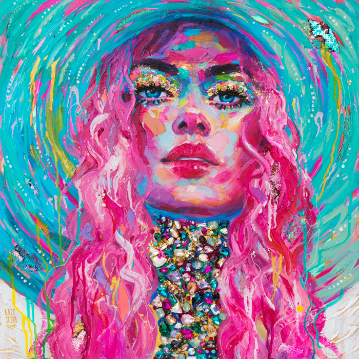 Art, Painting, Colorful, Portrait, Large, Thick Paint, Brushstrokes, Texture, Pink, Woman, Portrait, Beautiful, Purchase, Buy, Usa, America, Yellow, Ultramarine Blue, Pink Hair, Teal, Hat