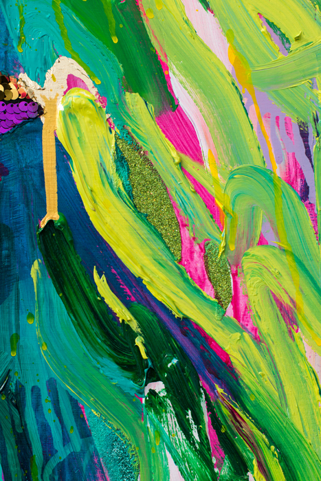 art, painting, colorful, portrait, large, thick paint, brushstrokes, texture, pink, woman, portrait, beautiful, purchase, buy, usa, america, yellow, mardi gras, new orleans, green, purple, green hair