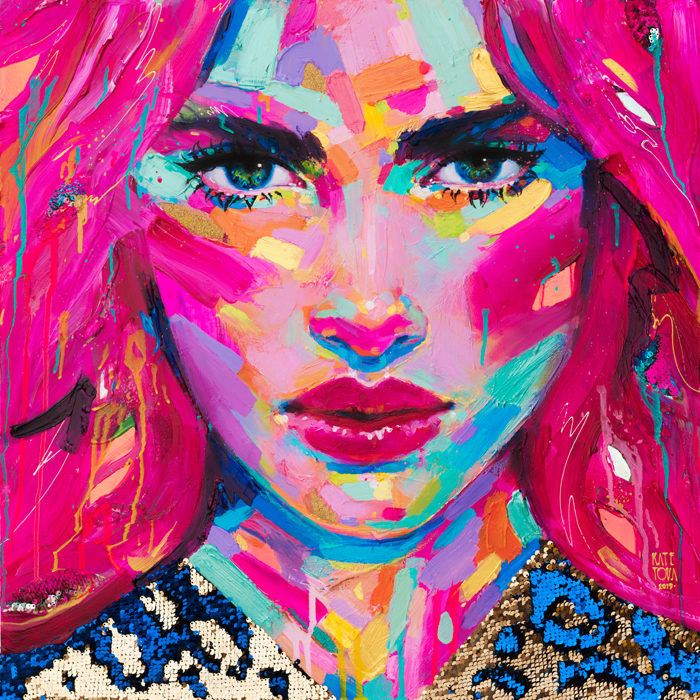 art, painting, colorful, portrait, large, thick paint, brushstrokes, texture, pink, woman, portrait, beautiful, purchase, buy, usa, america