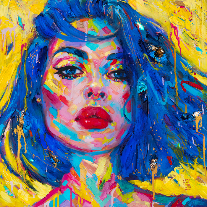 art, painting, colorful, portrait, large, thick paint, brushstrokes, texture, pink, woman, portrait, beautiful, purchase, buy, usa, america, yellow, ultramarine blue, blue hair