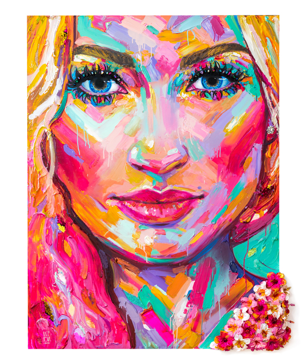 Colorful Custom Painting, Woman, Flowers, Hibiscus, Colorful