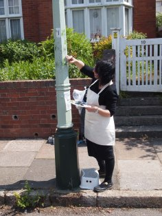 lamp post 2 being painted