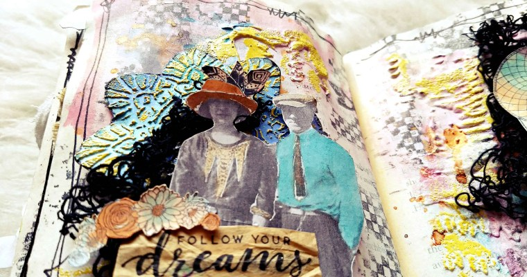 Dreams Are for Catching: Mixed Media Art Journal Layout