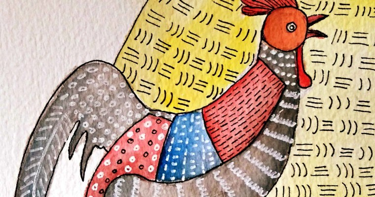 A Pair of Chickens: Gond Watercolor Painting