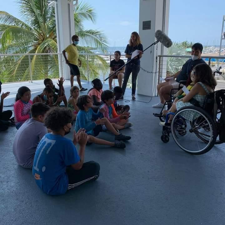 Kat talking to kids at Shake-A-Leg Miami