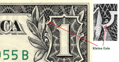 Eulen Symbol auf dem Dollar