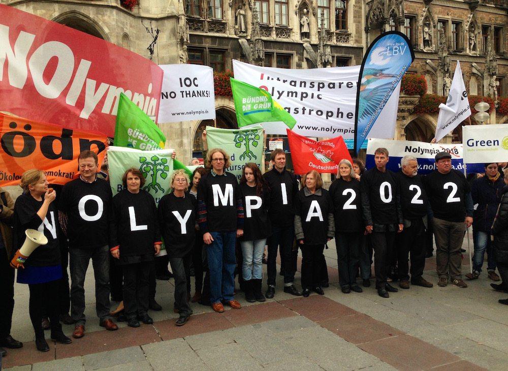 Auf dem Marienplatz: Gegen Olympia in München & Region 2022