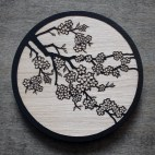 Cherry Blossoms - Wood Coaster