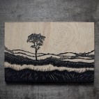 """Valley Landscape - 4x6"""" Wood Engraving"""