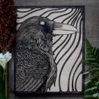 "Raven Head - 8x10"" Wood Engraving"