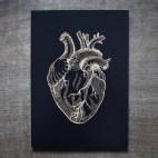 "Anatomical Heart - 5x7"" Wood Engraving"
