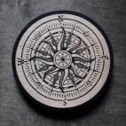 Compass, light version - Wood Coaster