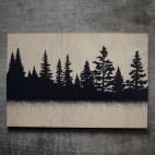 "Coniferous Trees - 4x6"" Wood Engraving"