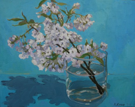 Blossom on cyan, 50x40cm