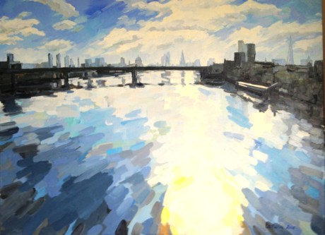 Early Morning from Charing Cross bridge, 100x75cm plus frame, £1800