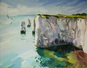 Old Harry rocks painting on canvas Painting Dorset coast