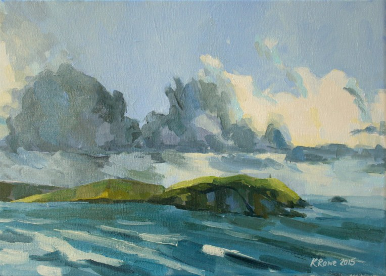 Daymer bay storm approaching oil painting