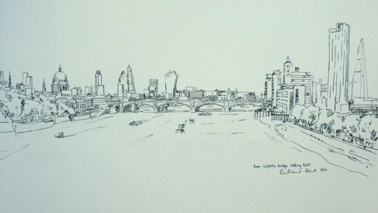 Pen drawing, view from Waterloo bridge