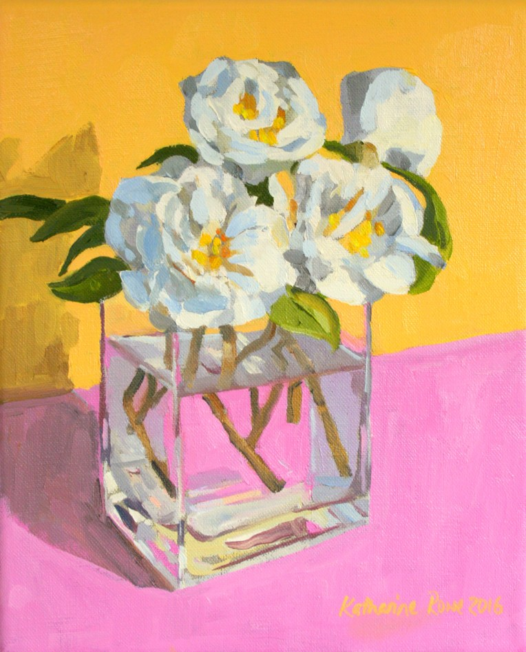 Camellias on pink cloth, 27x22cm, £175