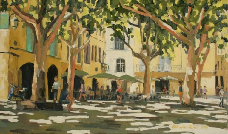 Le Place aux Herbes, Uzes. 55x33cm unframed, £550