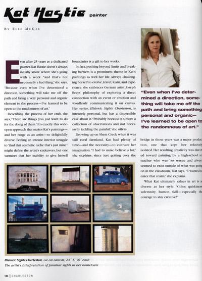 Charleston Magazine features artist Kat Hastie