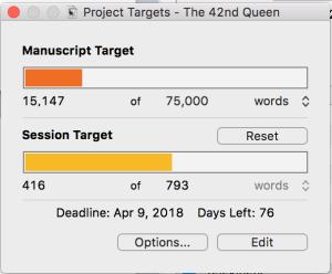Project Target in Scrivener