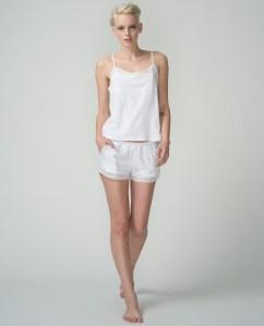 skin pima tulle trim cami, white